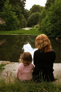 Picture of mother sitting with daughter